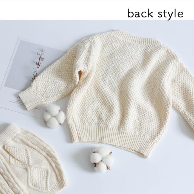 Pearls パールズ ベビー服 冬 男の子 女の子 カーディガン パンツ 上下セット ブルマ トップス 暖か