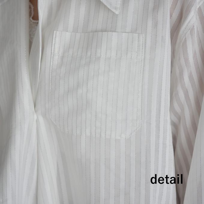 ブラウス トップス シャツ ストライプ ジャガード ポリエステル 冷房対策 シアー Pearls パールズ